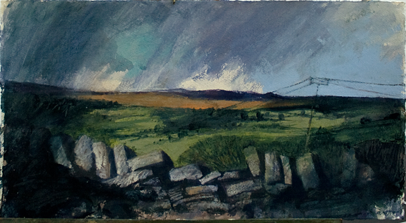 Landscape by Ros Garratt made in the Brecon Beacons during one of Art Courses Wales' workshops.
