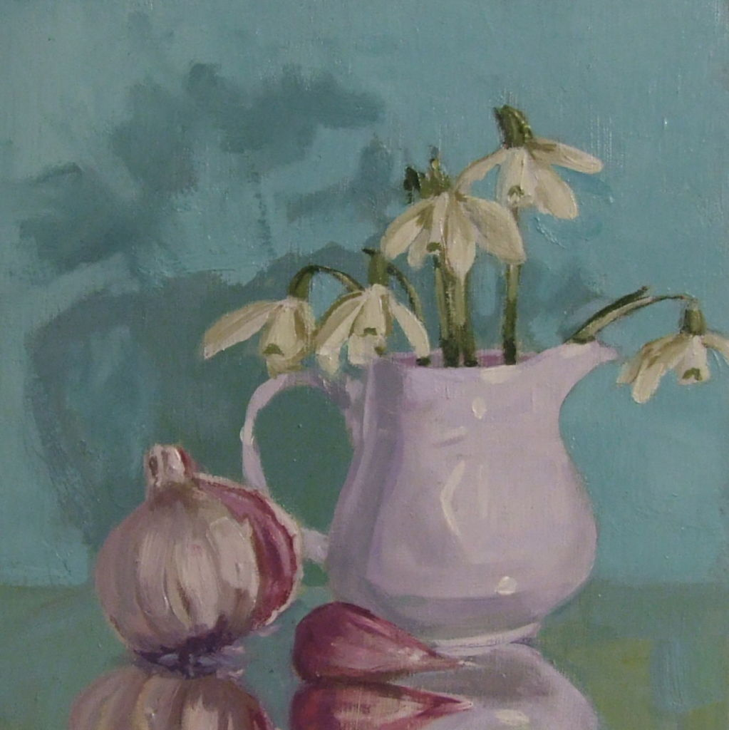 Margaret S Milligan, White and White, 6 square oil on board