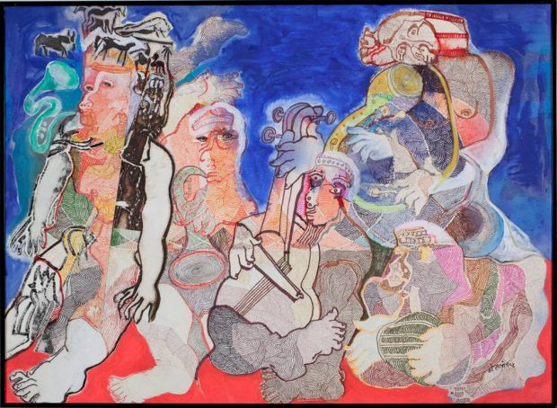 'Musicians' Mohan Samant Watercolour on paper, 55.9 x 76.2 cm, 1999 ©The Estate of Mohan Samant, Courtesy Abraham Joel