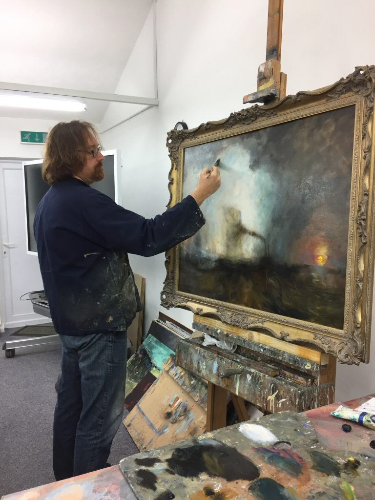 The image above shows Martin Kinnear with a full size study of Staffa Fingal's Cave in his demonstration theatre at the Norfolk Painting School.