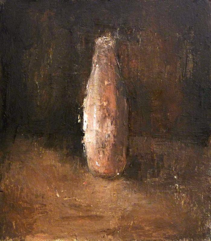 Paulina Pluta, Roman bottle, Oil on panel, Framed in brown wood