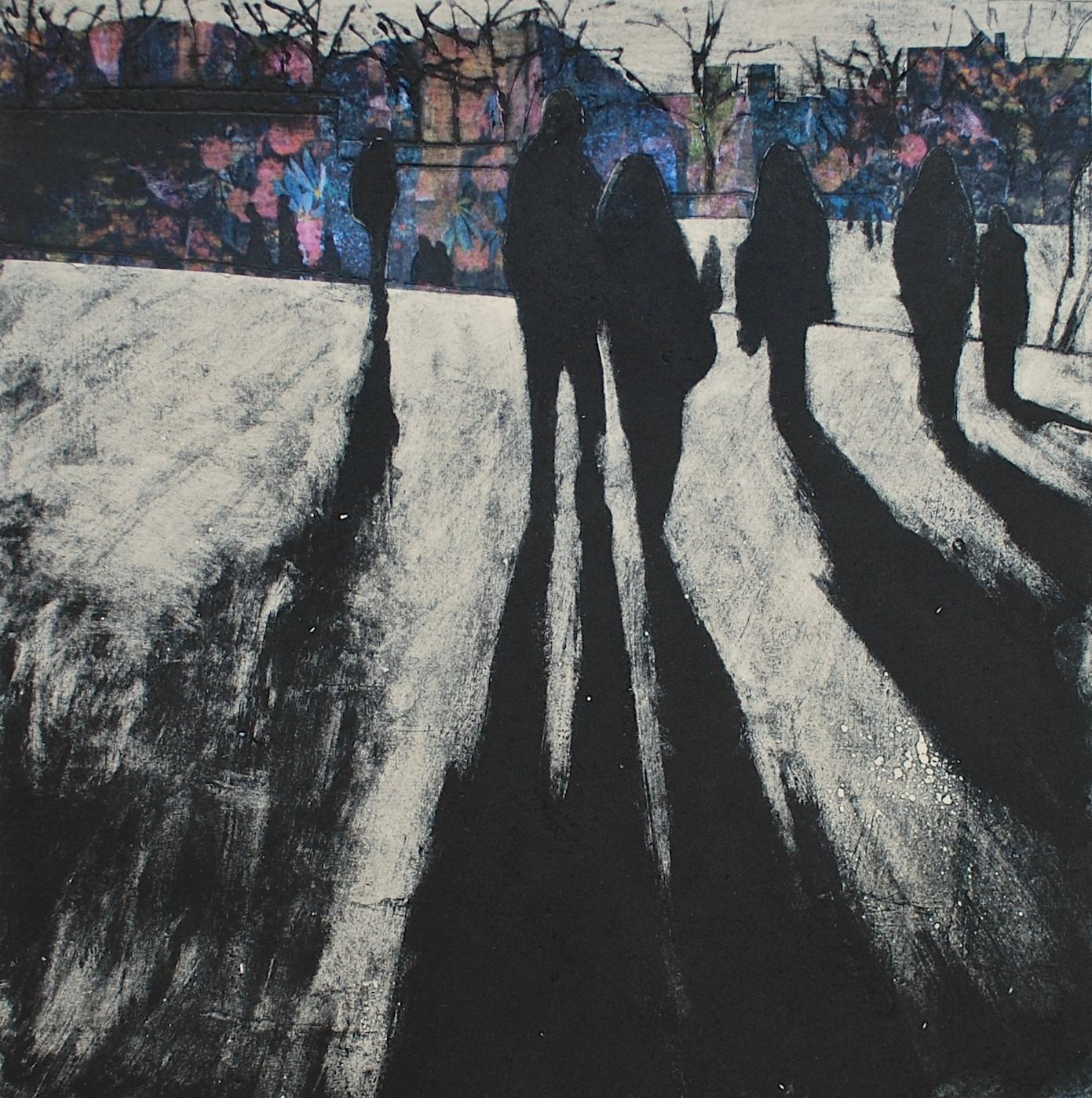 'Evening Shadows' Anna Perlin Unique Carborundum print with chine colle, 30cmx30cm, 2016