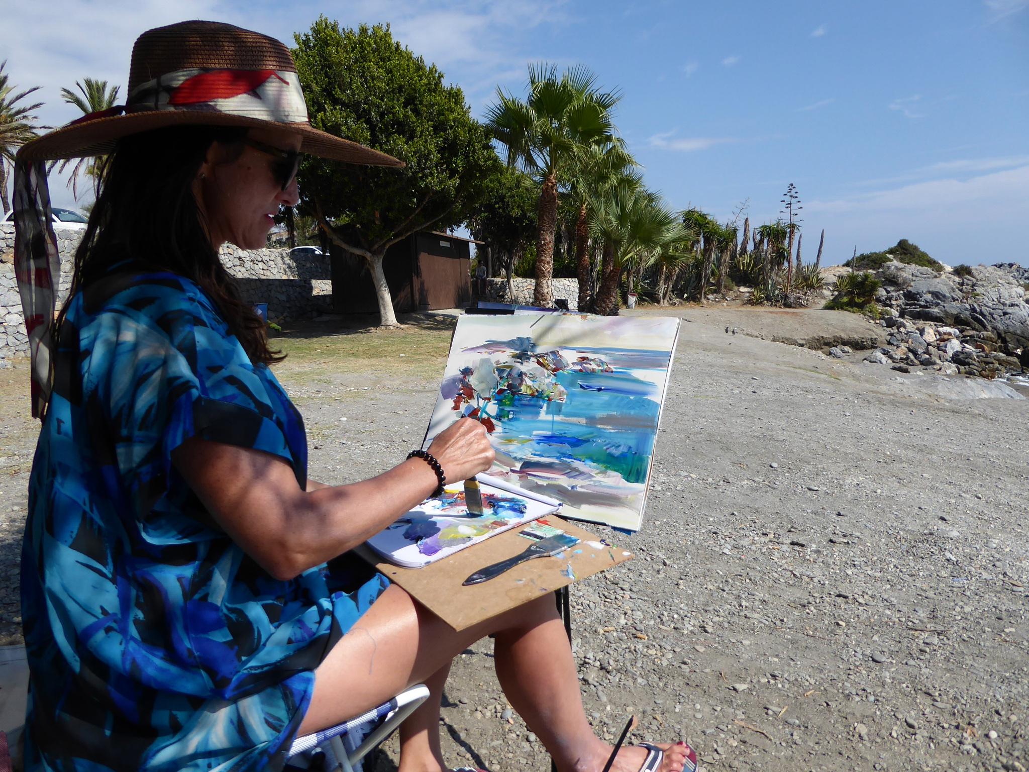 anna start of painting on beach 3