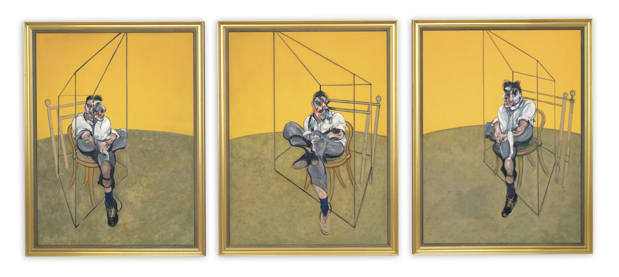 "'Three Studies of Lucian Freud' Francis Bacon Triptych, Oil on canvas, each panel 78"" x 58"", 1969. © The Estate of Francis Bacon. All rights reserved. / DACS, London / ARS, New York / Christie's Images Limited 2013"