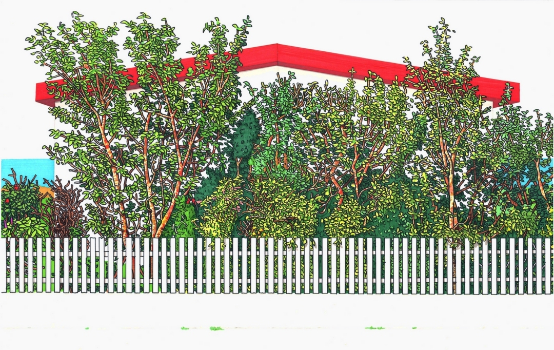 'House garden (Grundarfjordur, Iceland)' Simon Parish Marker pen on paper, 57x88cm, 2018