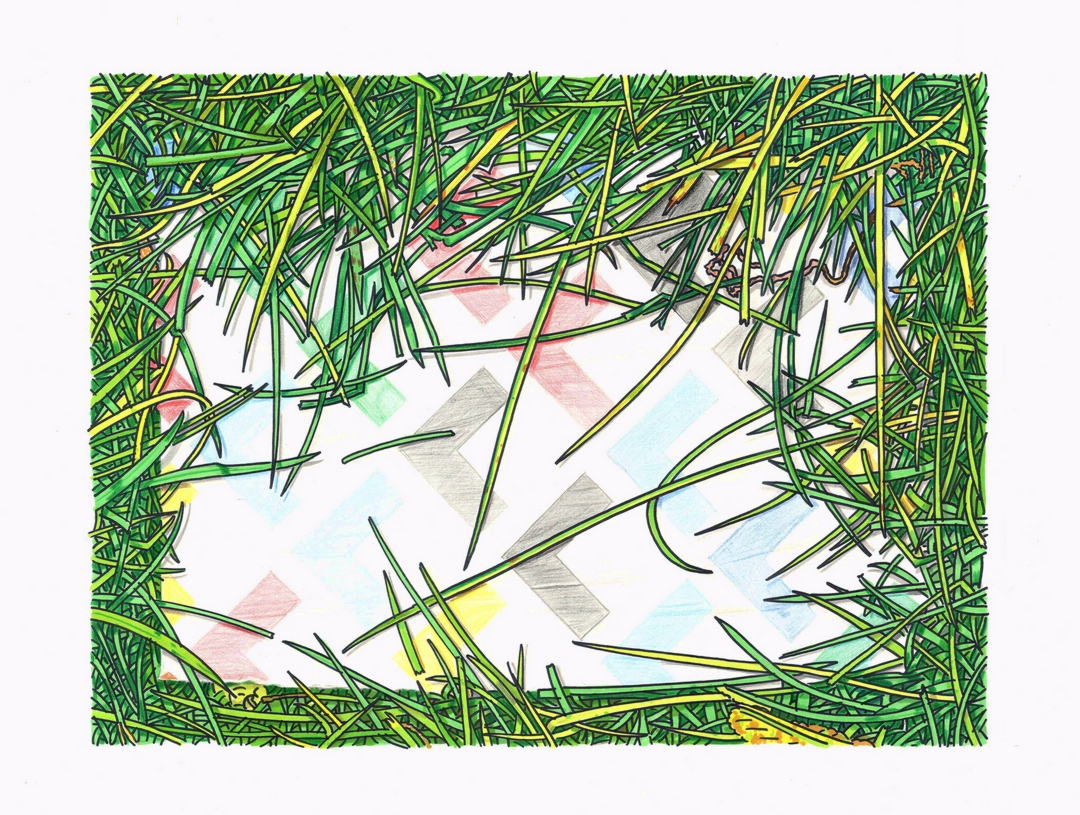 'Geometry In Grass' Simon Parish Marker Pen and Coloured Pencil on Paper, 38x51cm, 2018