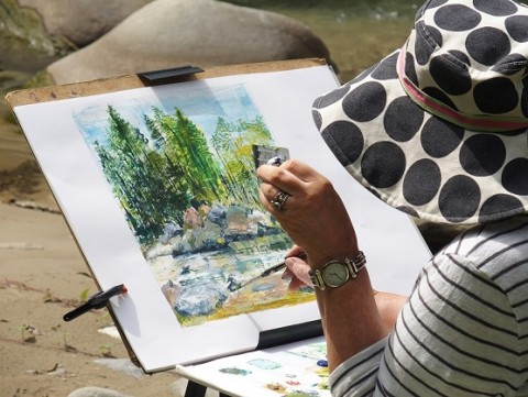 Plein air painting by guest at a painting holiday in Tuscany run by The Watermill, Posara
