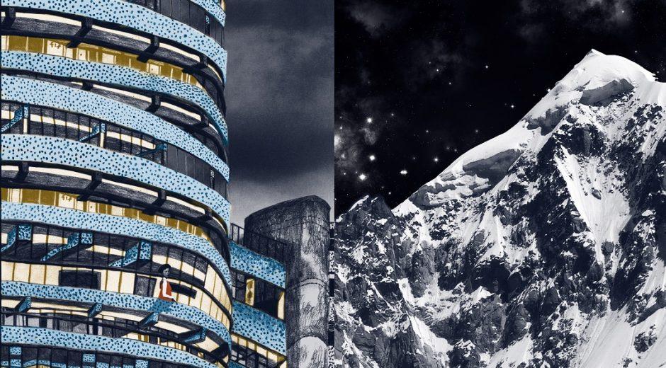 'Alpine Architecture' (Preparatory spread for a book of Risograph prints) Mirry Stolzenberg Nero Pencils, found material, 37cm x 26cm, 2017