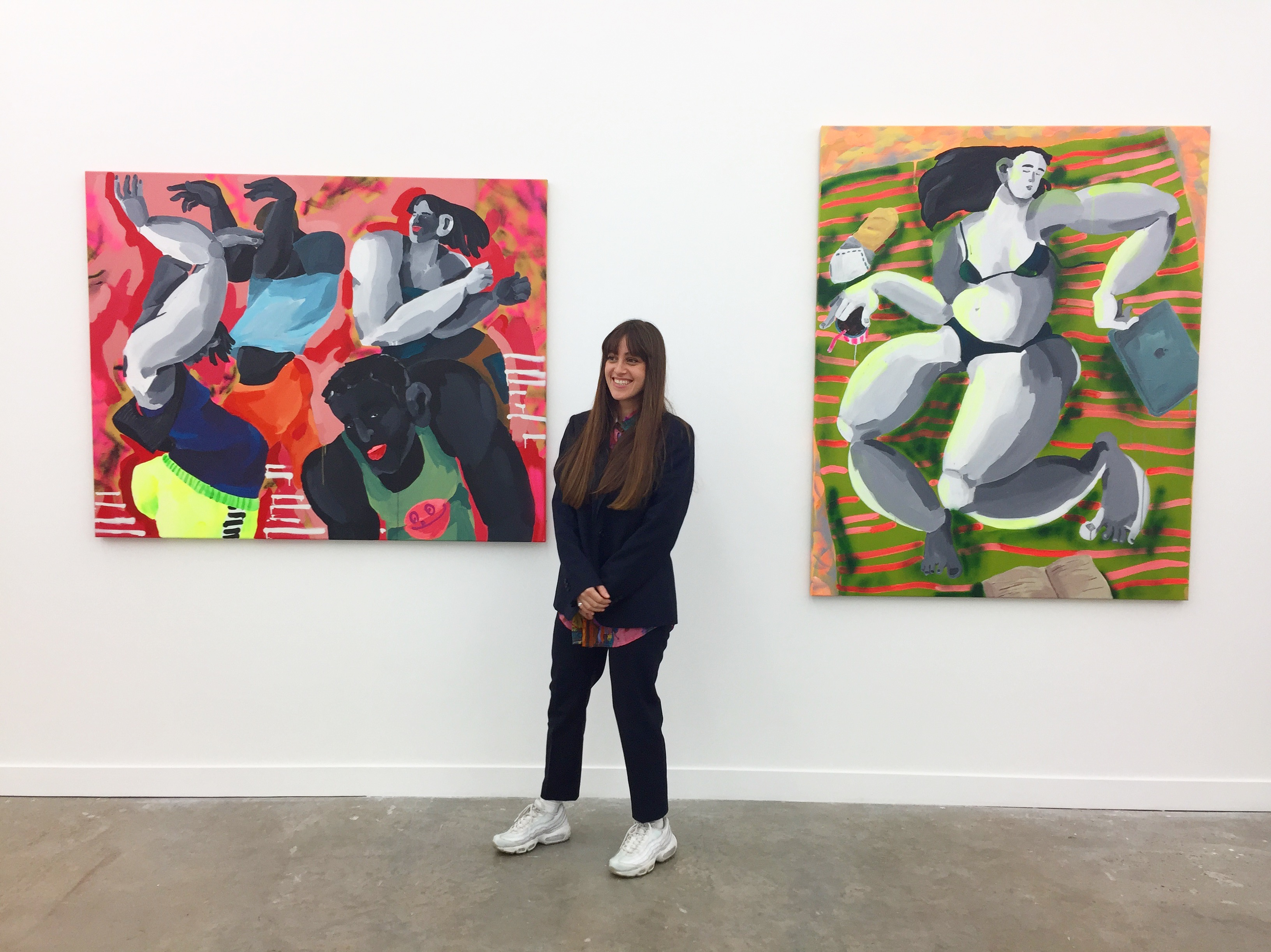 "Cristina BanBan with her paintings selected for the ""Griffin Art Prize 2017"" at Griffin Gallery"