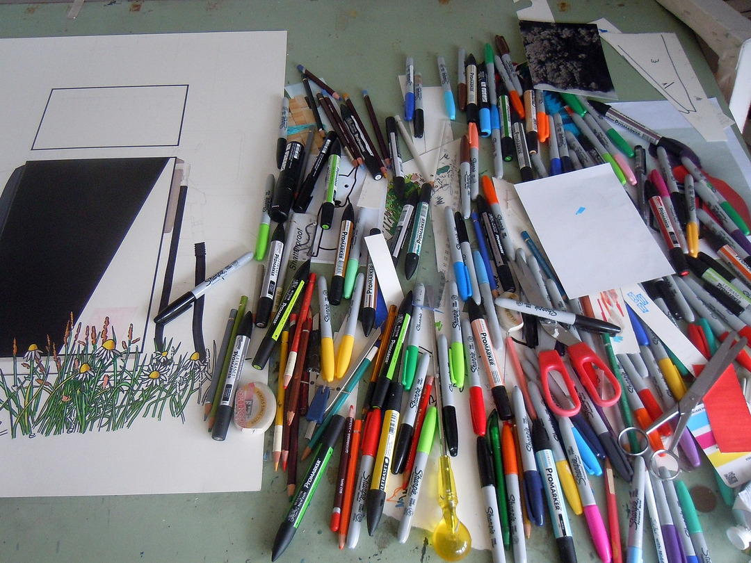 Simon Parish's Drawing table with pens