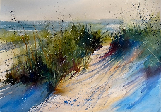 Afternoon in the Dunes, watercolour by Sandra Strohschein, tutor for the Watermill watercolour painting holiday