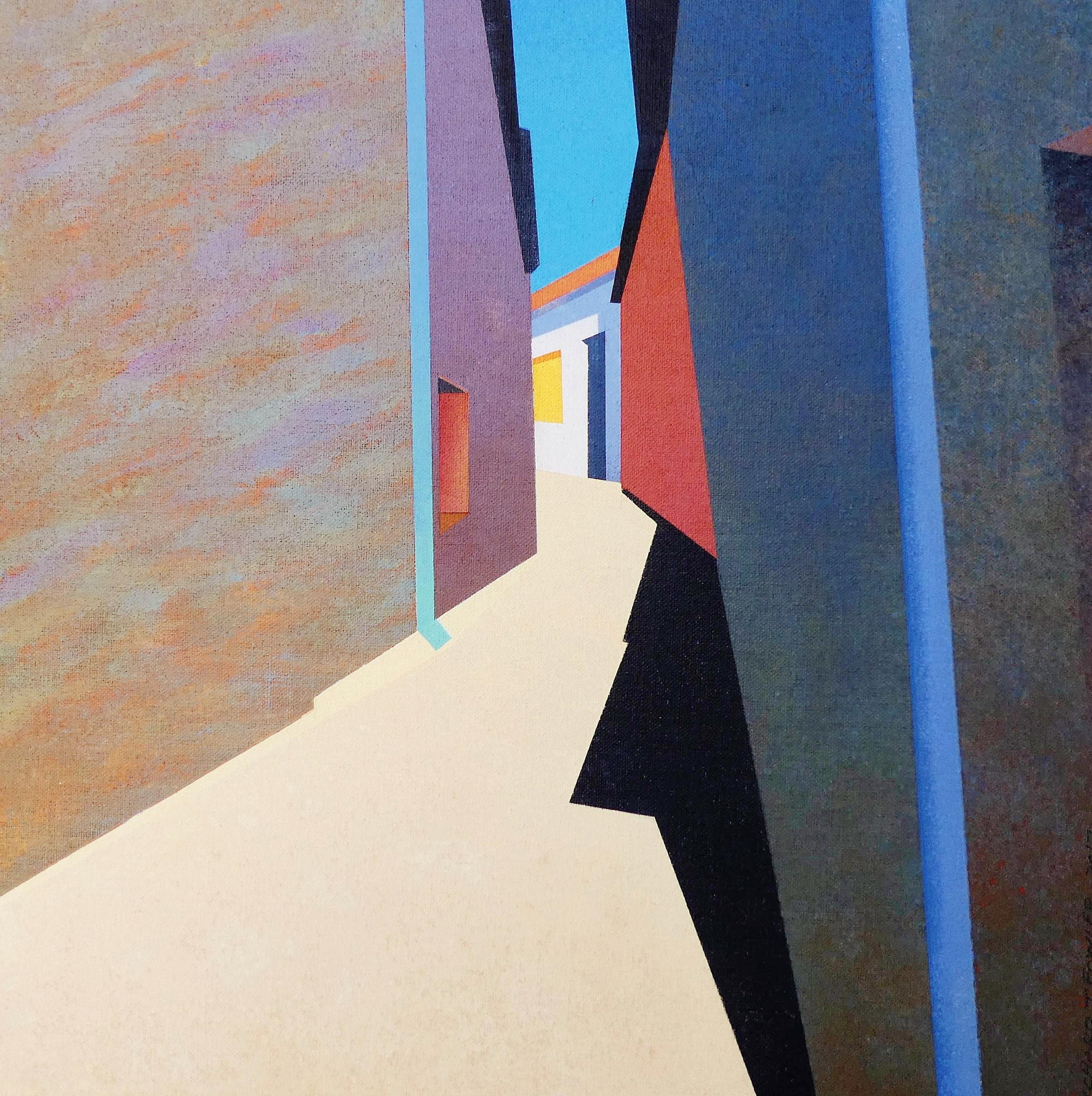 'Backstreet at Noon, Fabrezan' Richard Fowler Acrylic on Canvas board, 40cm x 40cm, 2017