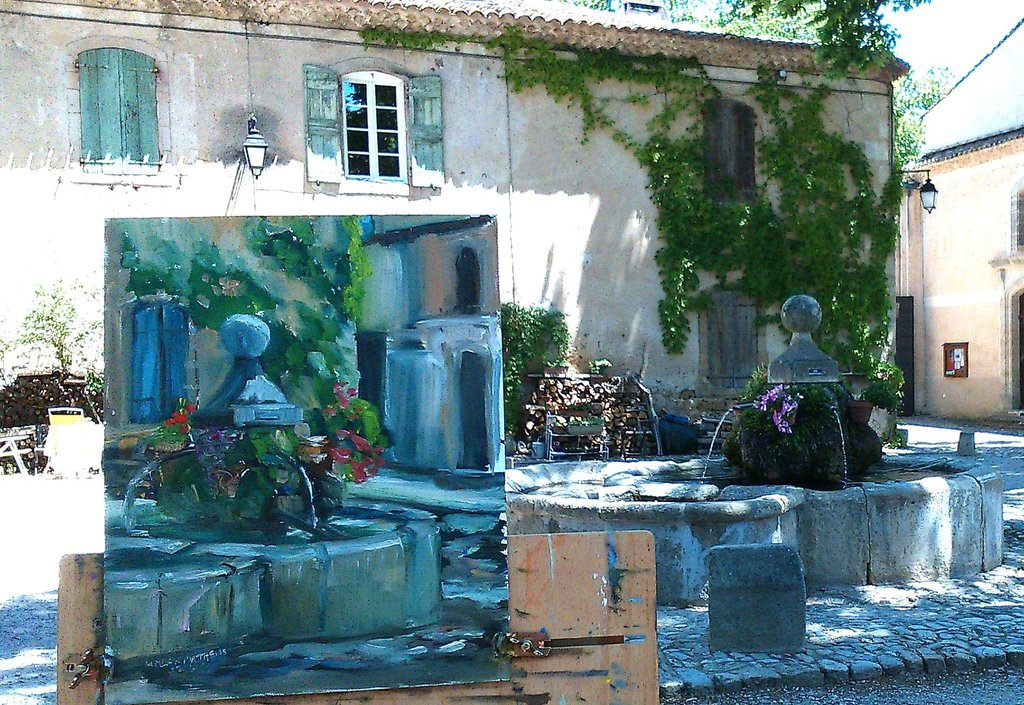 Plein air painting of a fountain in a courtyard done during one of Linda H Matthews' painting holidays in France.