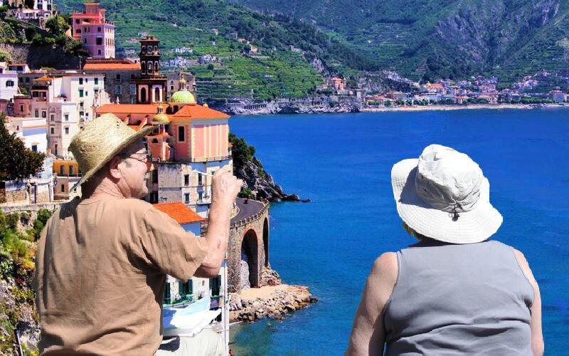 Two artists on a Azenart Painting holiday, looking across a view of Amalfi