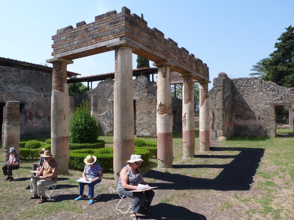 Azenart Painting Holiday, a group of artists making art in the ruins of Pompeii