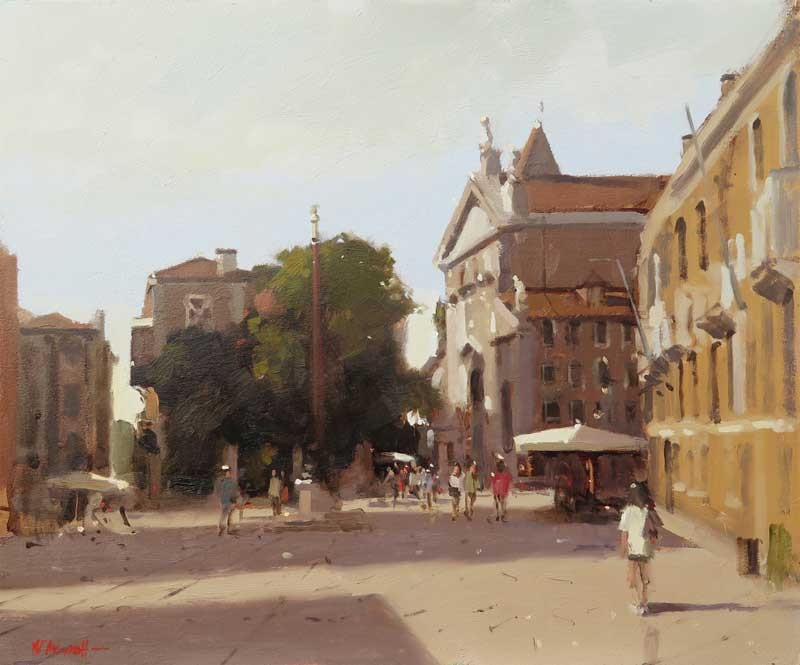 San Stefano Square, Venice by Michael J Ashcroft MAFA, oil on board 10 x 12 inches