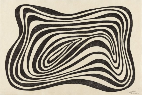 Sol LeWitt Concentric Irregular Black and White Bands 1994 Oil-based woodcut on Tosa-Misumi paper Paper 32.5 x 48.0 cm : Image 29.2 x 43.5 cm Edition of 100 Signed and numbered lower right
