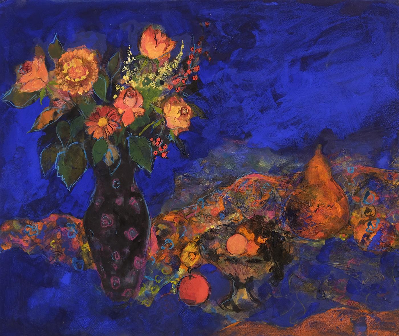 Ann Oram, Midnight Still Life, Mixed Media, Watercolour paper, 67 x 78cm