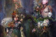 Bride Series Diptych 1 2016, pastels, acrylics, oil, gold leaf on canvas, 42 x 89cm