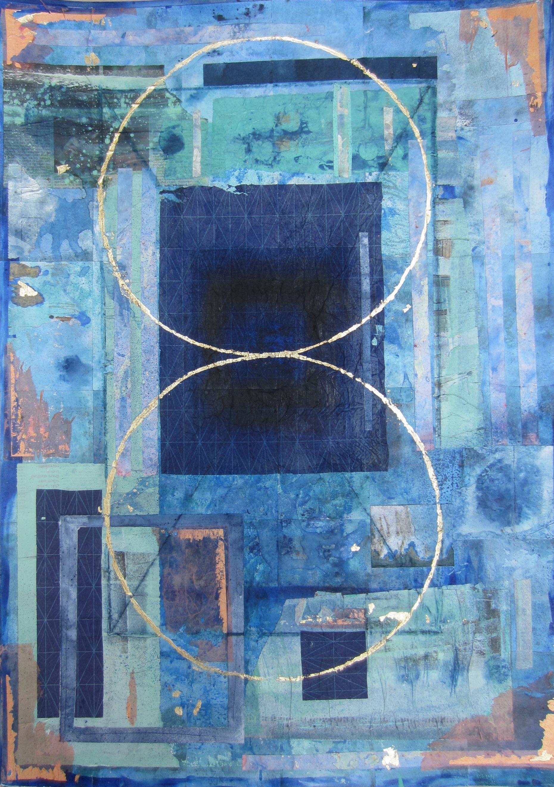 Jill Tattersall 2018'Alternative Worlds' (collage) 90x64 cm, showing at FLUX art exhibition