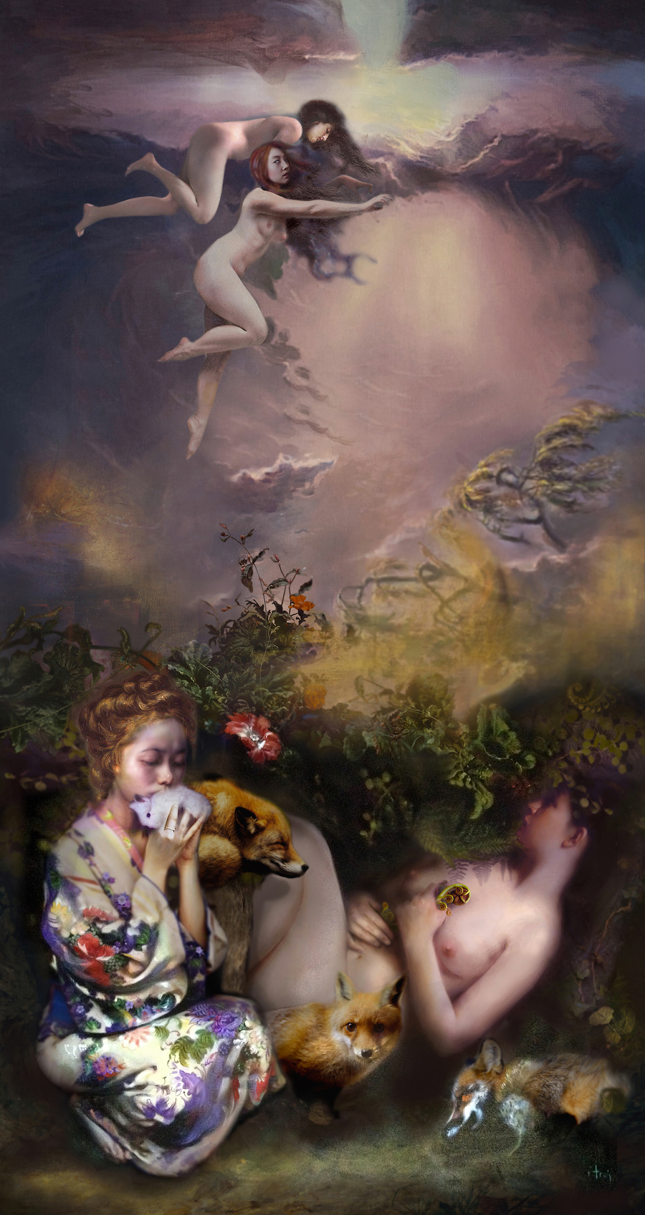 Iva Troj, Make A Child in the Forest II, pastels, acrylics, oil on canvas, 103 x 55cm