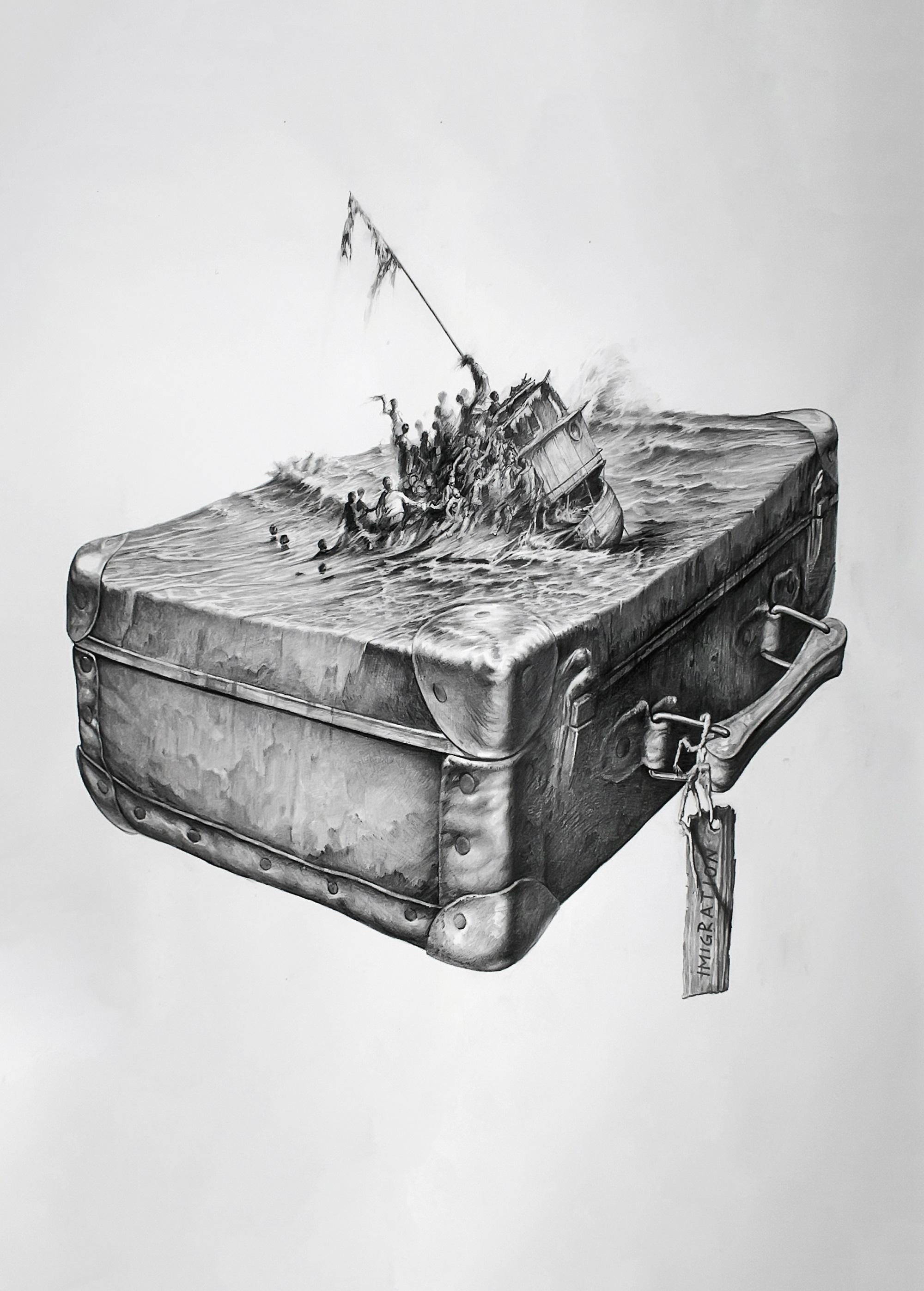 'Refugees' (Derwent Art Prize 2016 Winner) Agim Sulaj Graphite, 170cm x 150cm