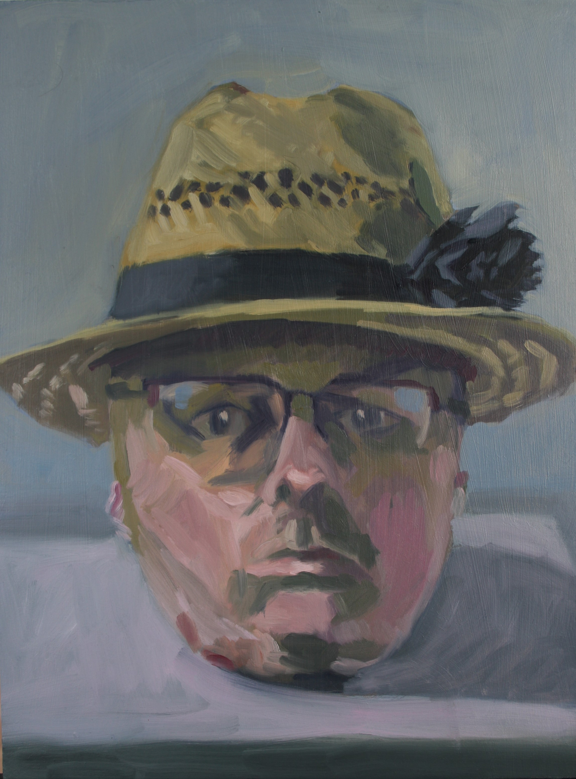 Sebastian Aplin, Self portrait in a straw hat. oil on canvas, 2017