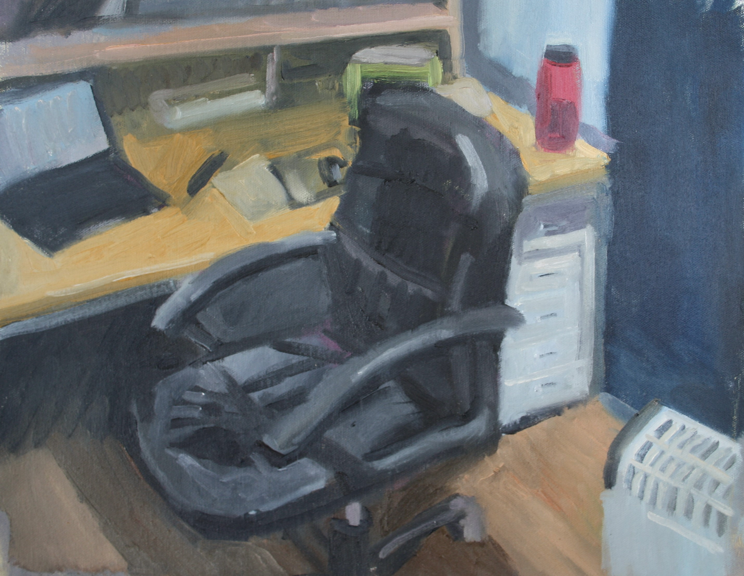 Sebastian Aplin, Studio chair and desk, Oil on canvas, 45 x 39 cm, 2018