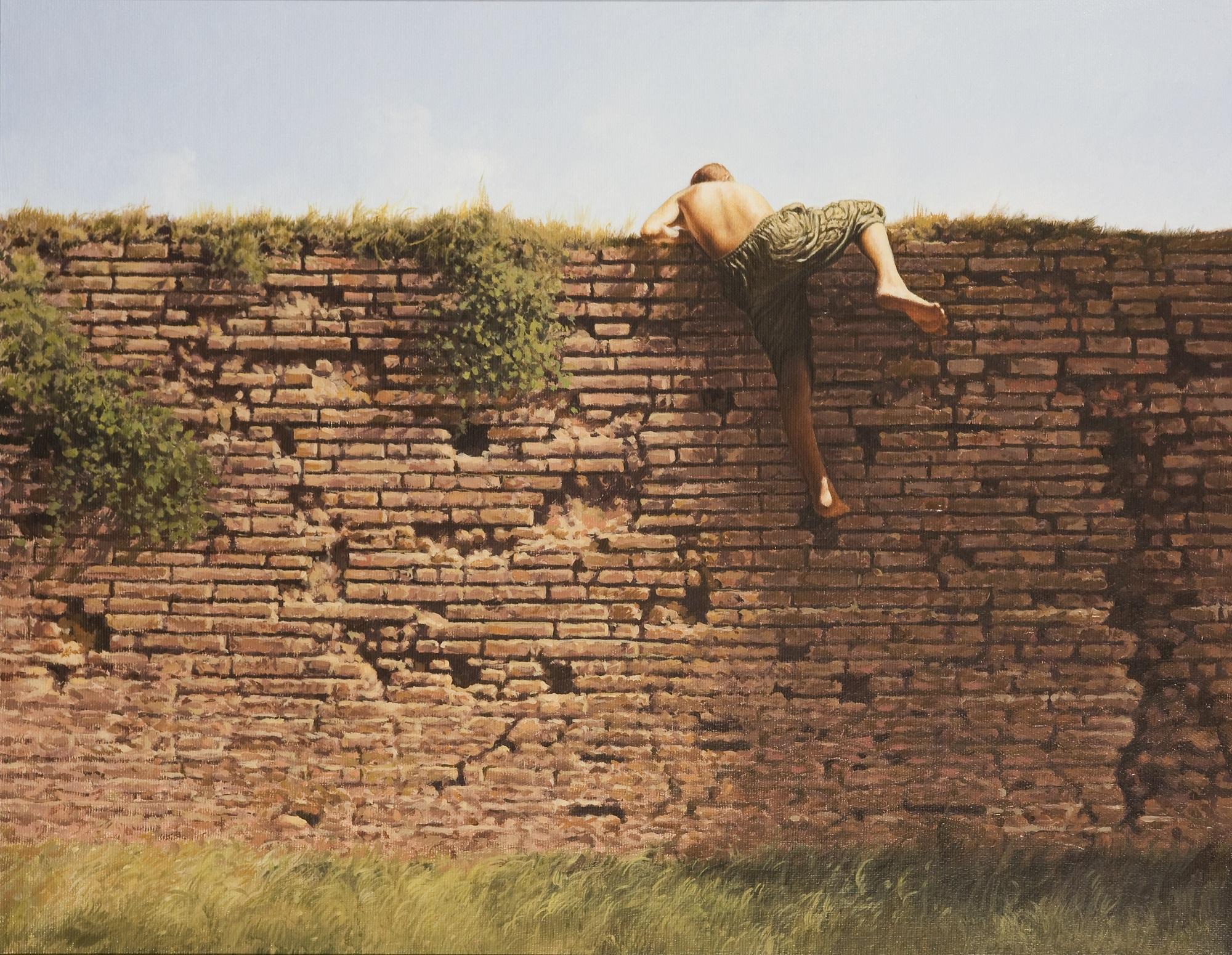 'The Wall' Agim Sulaj Oil on canvas, 40cm x 55cm