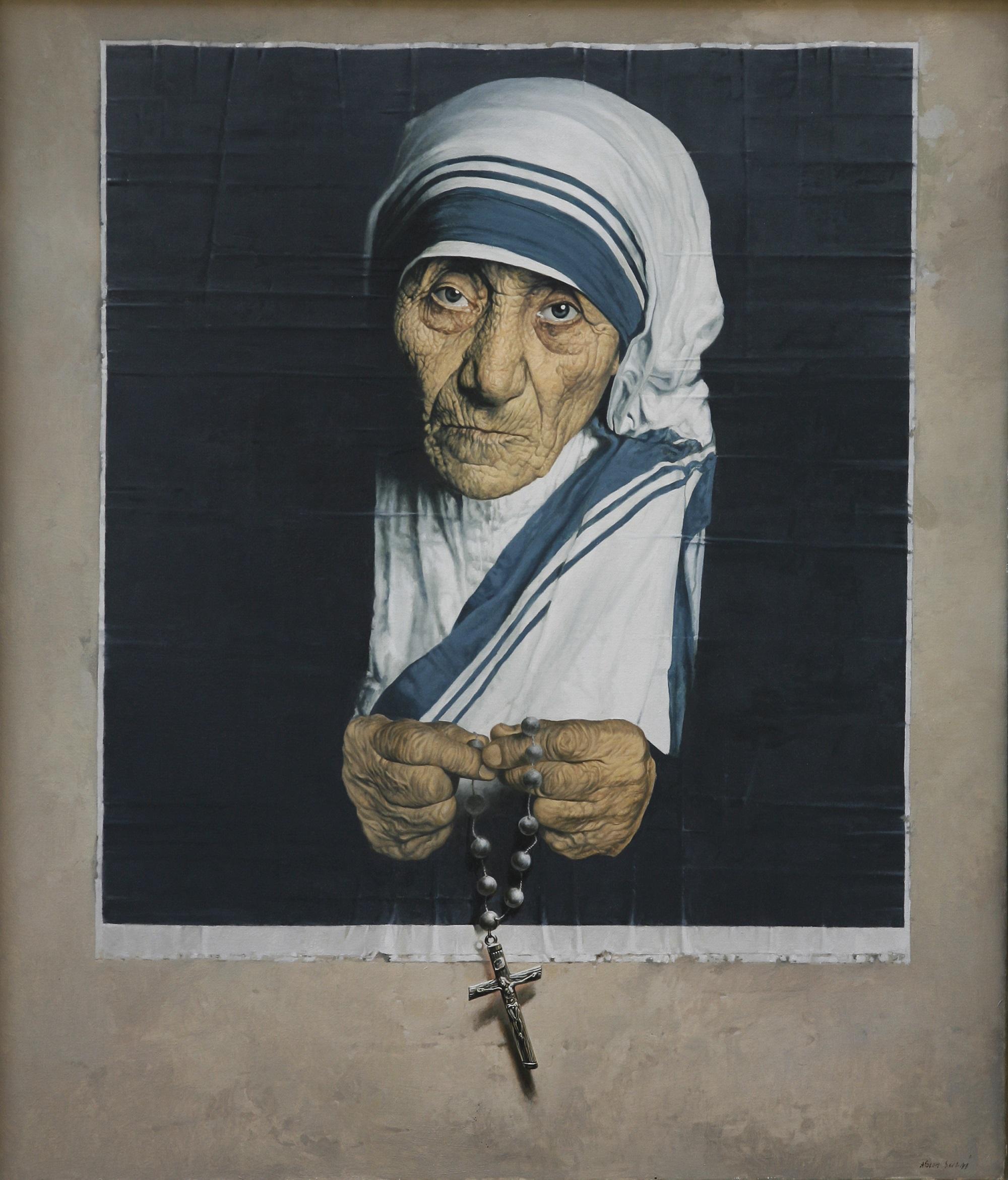 'Mother Theresa' Agim Sulaj Oil on Canvas, 70cm x 80cm
