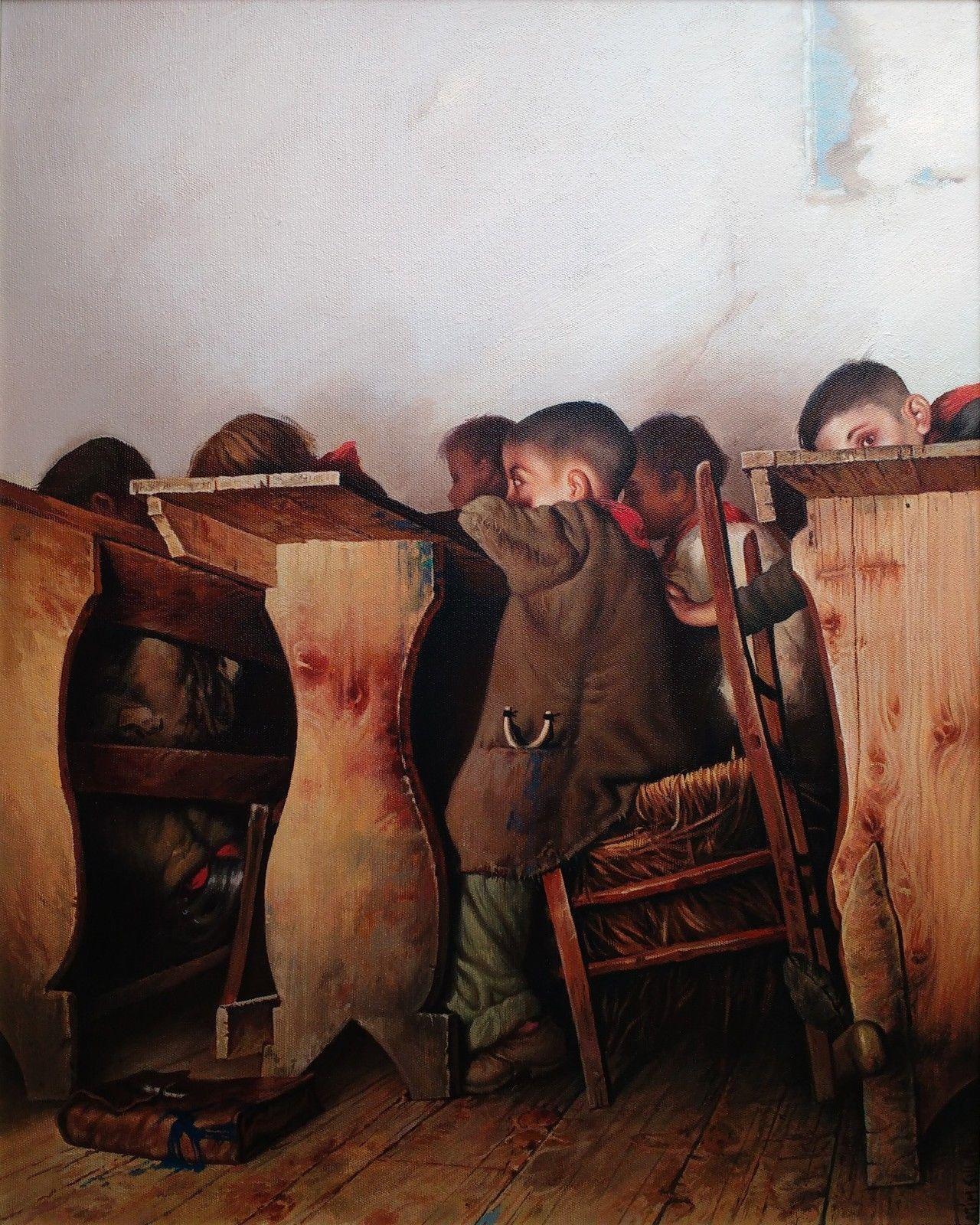 'School Desks' Agim Sulaj Oil on canvas, 50cm x 60cm