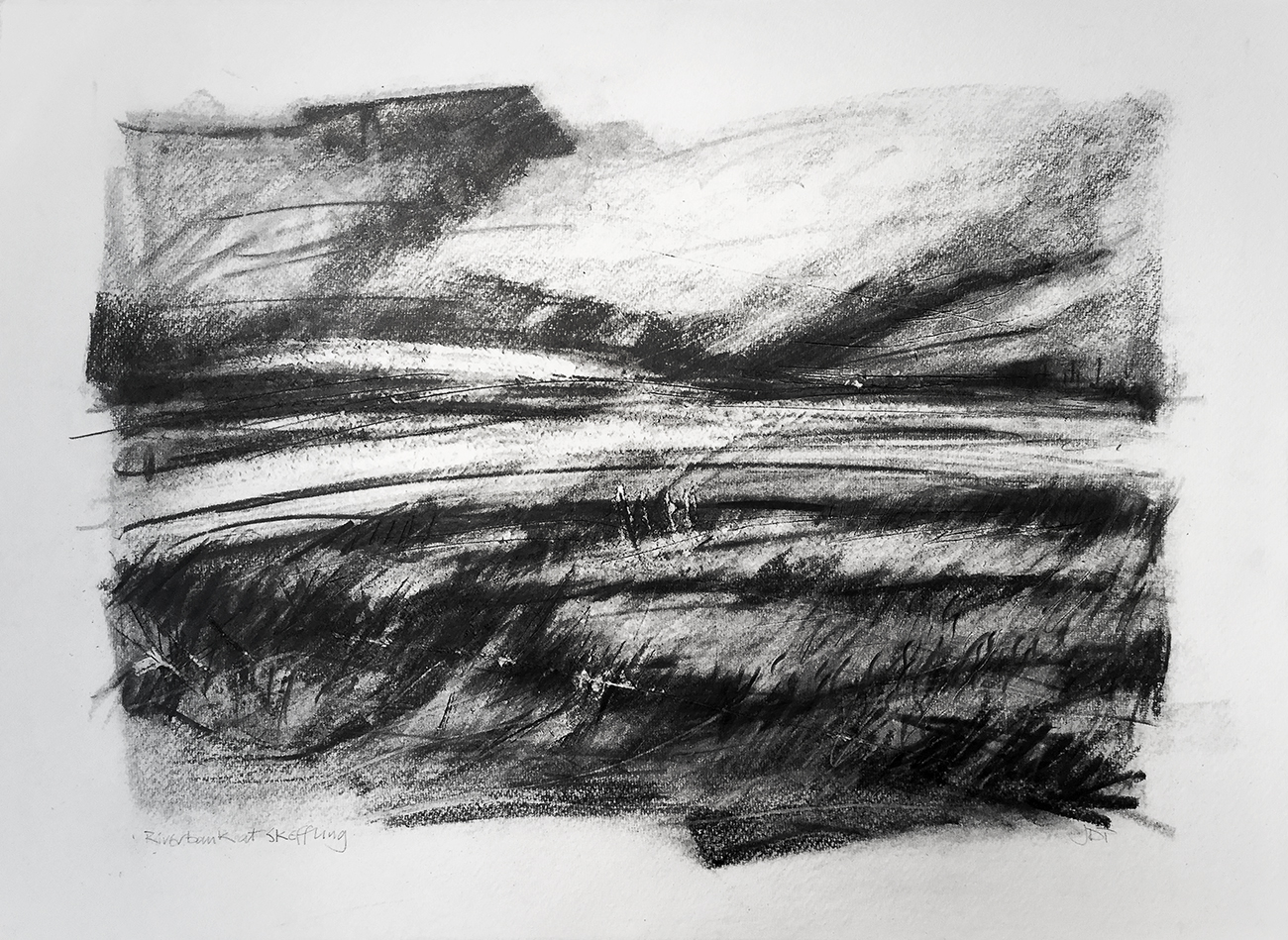 Riverbank at Skeffling, John D. Petty A drawing done in 2017, with some reference to a sketch done in 2015 but mostly from memory. Not, strictly-speaking agricultural although the fields do come right up to the river bank. There are wide, open views across the Humber Estuary and It's a place I visit regularly.Graphite on paper, 30x22 inches.