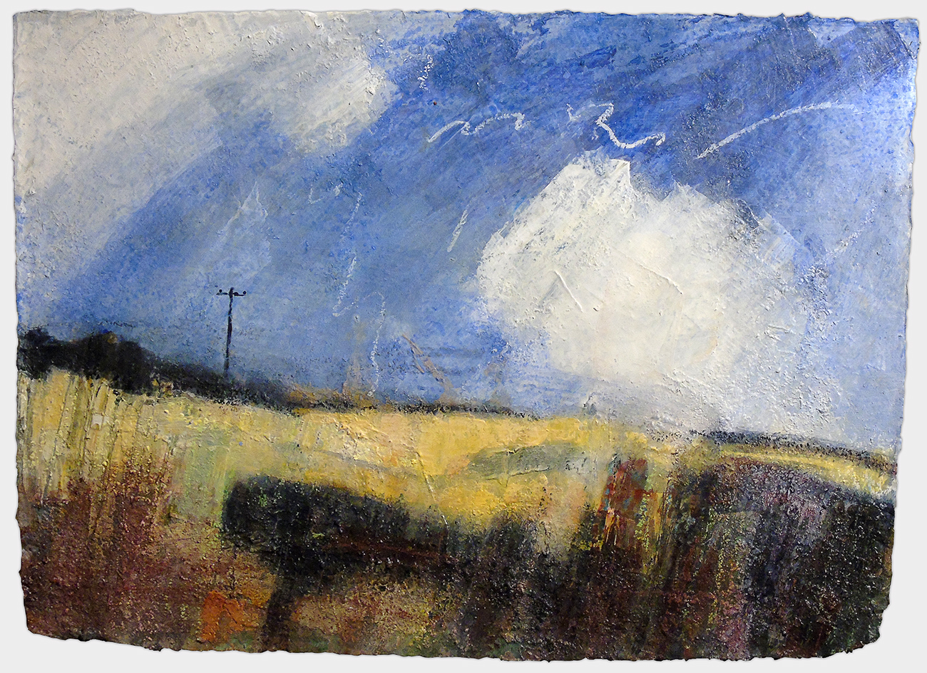 Towards Patrington Haven from Outstray Road, John D. Petty I worked on this, on-and-off, all through last winter (2017–18) before deciding it was finished. I'm a big fan of texture and with a workshop below my studio space there's no shortage of sawdust, so… It's a little like painting with porridge at first, but once it has a few coats of acrylic over it, it's as hard as rock. Acrylic and oil pastel (and sawdust) on paper, 22x15 inches.