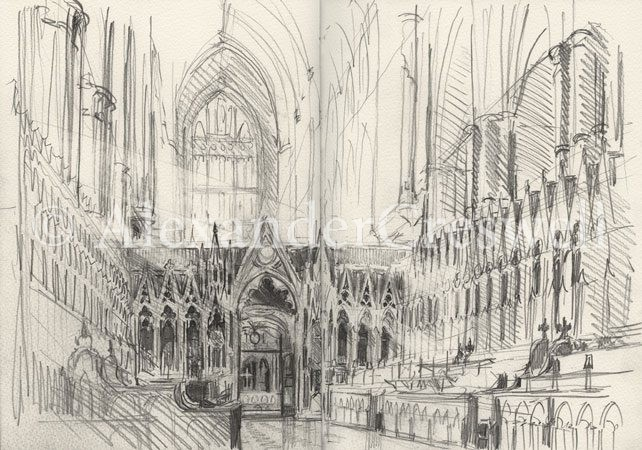 Alexander Creswell, Westminster Abbey - The Quire, sketch 15 x 22 (38 x 56cm) 2011, exhibitions end April