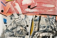 Arthur Lanyon, Black Collar, oil, acrylic, gold gesso, spray paint, charcoal on linen, 170 x 190 cm