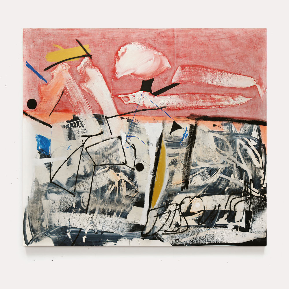 Arthur Lanyon, Black Collar, oil, acrylic, gold gesso, spray paint, charcoal on linen, 170 x 190 cm, exhibitions end April