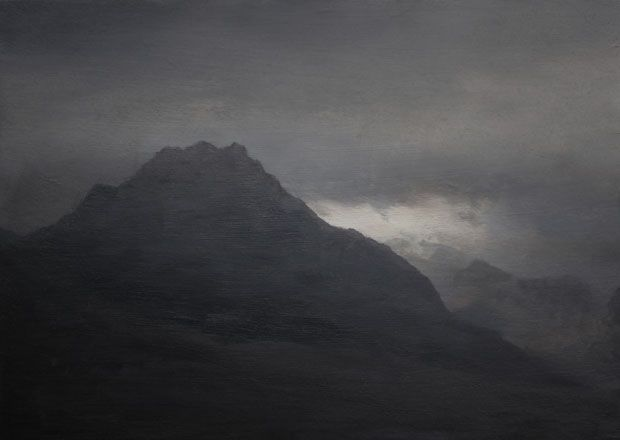 Daniel Crawsgaw, Tryfan I, 2015, Oil on board, 14 x 19cm, exhibitions in April