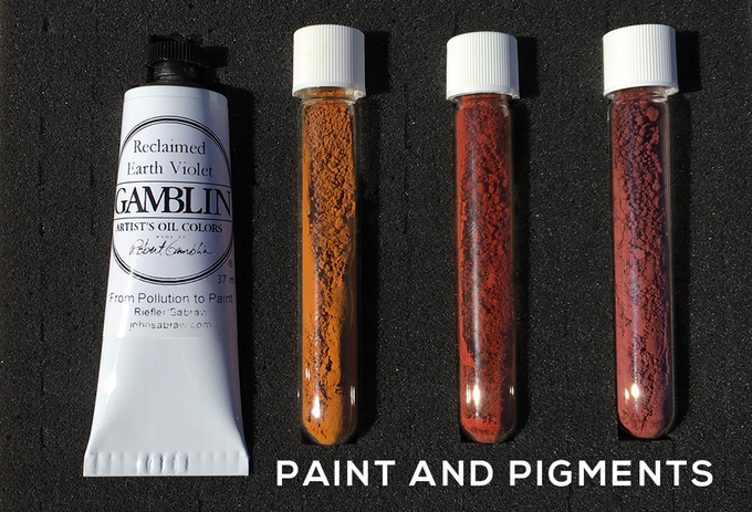 Gamblin Reclaimed Earth Violet and AMD pigment set available through pledge to Toxic Art Kickstarter project. ©2018 Art Boy Inc., All rights Reserved. Photo by John Sabraw. toxic paint