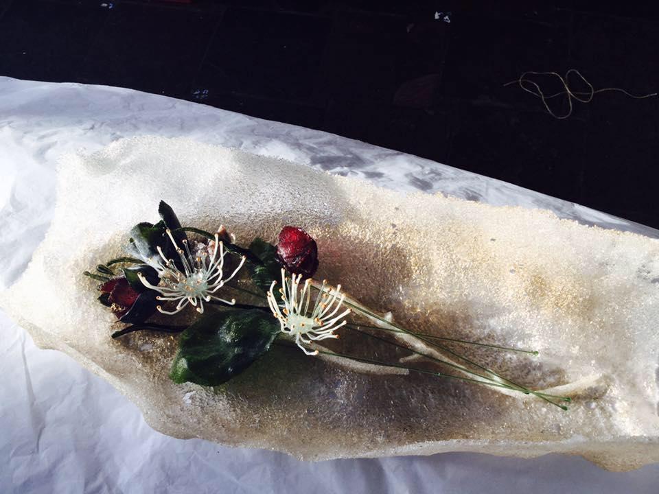 Helen Dyne, Eucalyptus glass work, showing at FLUX art exhibition