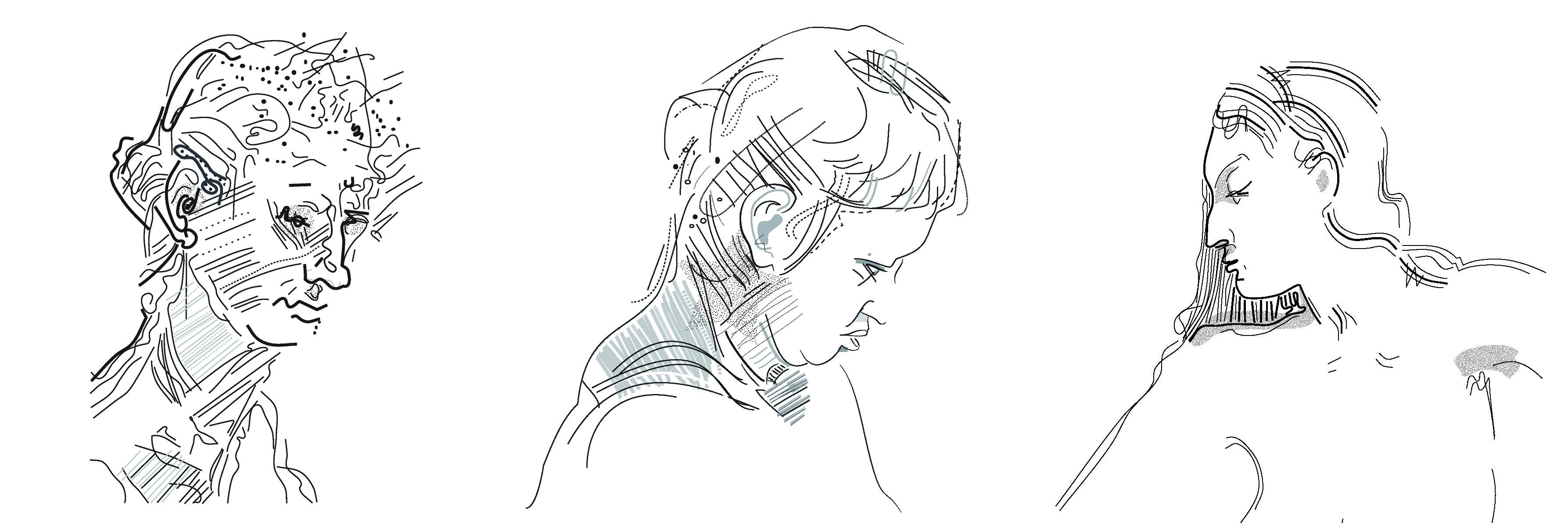 """threemuses, Digital vector drawings showing three of the nine """"muses"""" series 2017, Chris Mercier."""