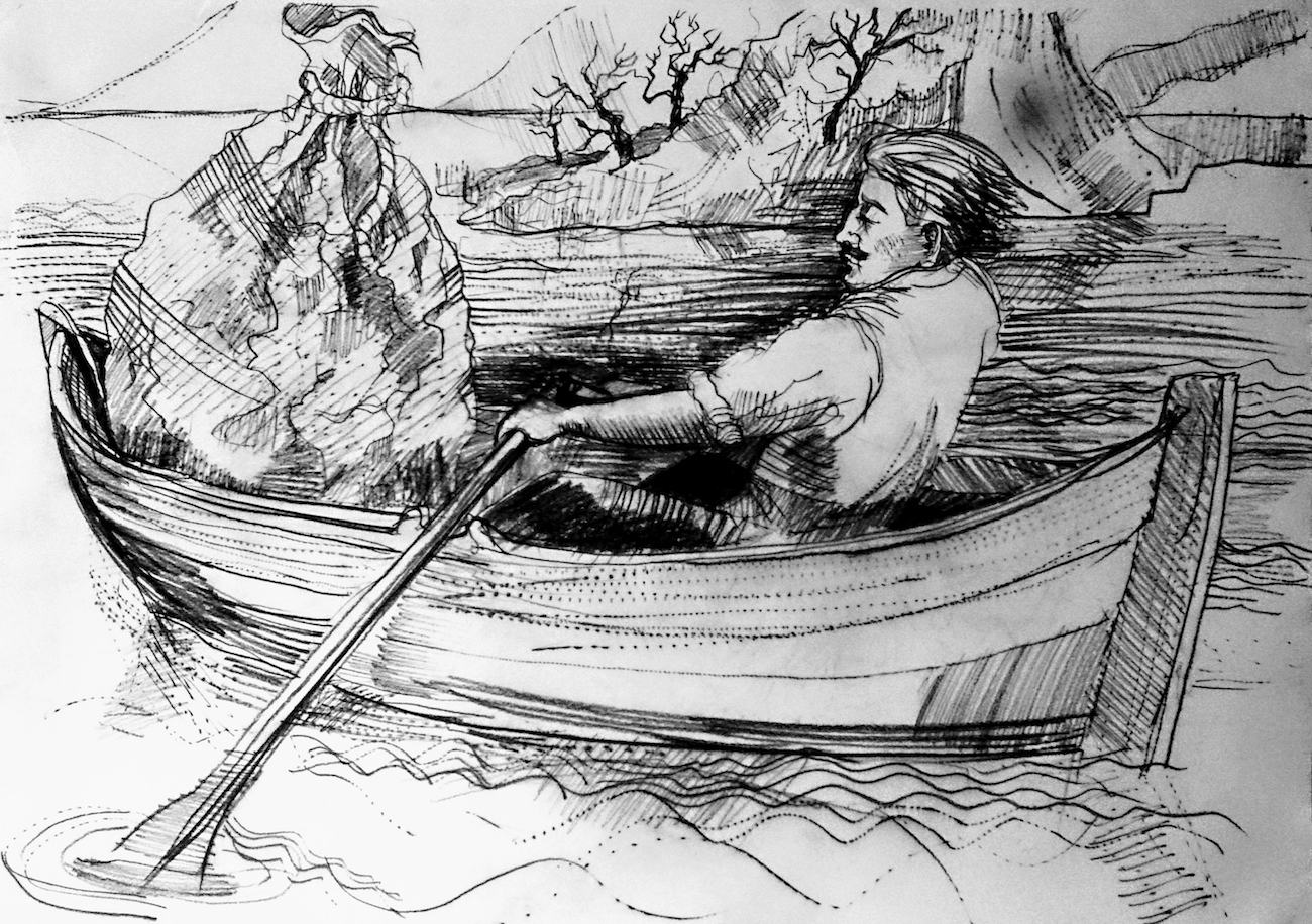 victorRowsOut, Conte pencil drawing for Toile. It depicts Victor rowing out into a Scottish loch to sink the dismembered remains of his aborted attempt to make a partner for his creature.