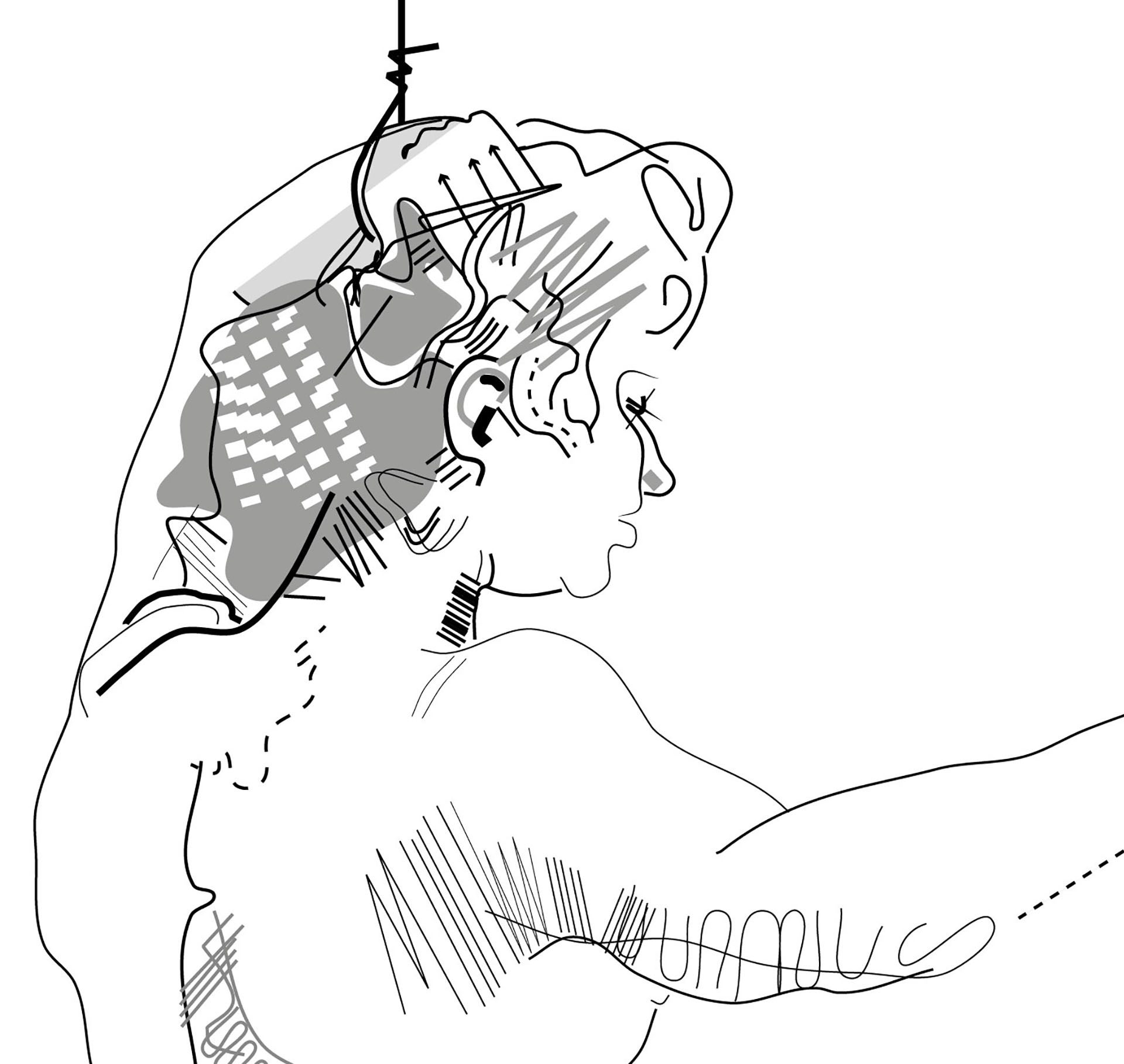 victorcontemlatesEve2, Detail of digital vector drawing used for the Frankenstein's Toile.