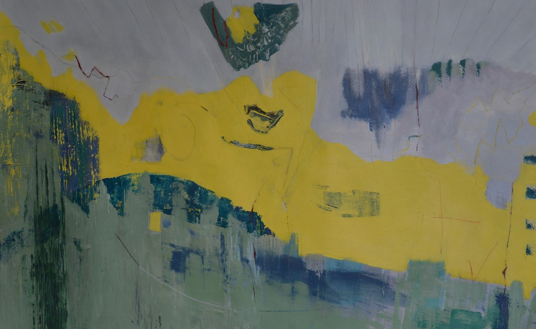 Andy Metcalf, image from his Yellow Canyon Series paintings form the centre of his work at the Ply Gallery exhibition and which he has been working on for 9 months