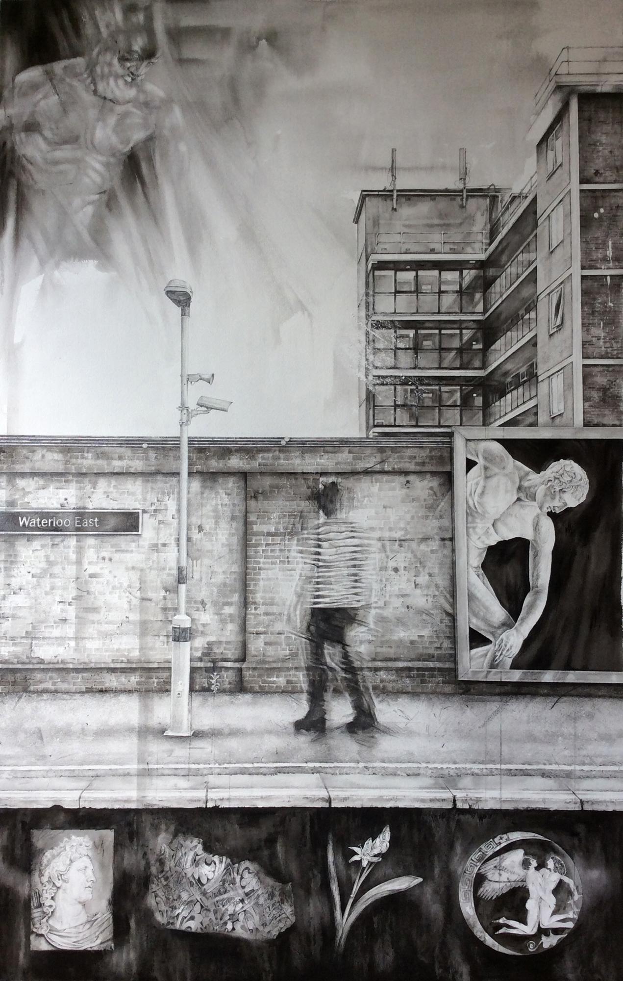 'Hyakinthos' Claire Sparkes watercolour & graphite, 136cm x 92cm, 2015