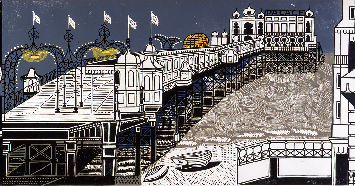 Detail from Edward Bawden, Brighton Pier, 1958, Linocut, 52.1 × 139.7 cm, art exhibitions to see in June