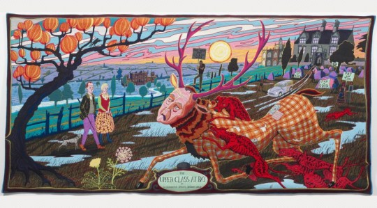Grayson Perry, THE UPPER CLASS AT BAY, 2012, Jaquard woven tapestry in wool, silk, cotton, acrylic and polyester, with cotton warp © The Artist Gift of the artist and Victoria Miro Gallery with the support of Channel 4 Television, the Art Fund and Sfumato Foundation, with additional support from AlixPartners.art exhibitions to see in June