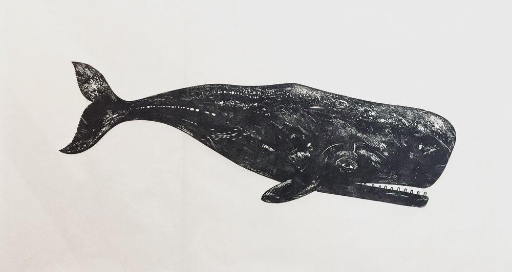 Linocut Boy (Nick Morley), Whale II, lino cut, 101 x 180cm, art exhibitions on now