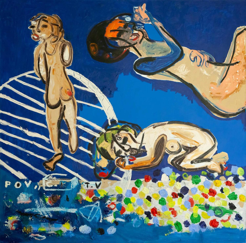 Tarek Sebastian Al-Shammaa, P O V C K T V, 2017, Oil acrylic on canvas, 150 x 150