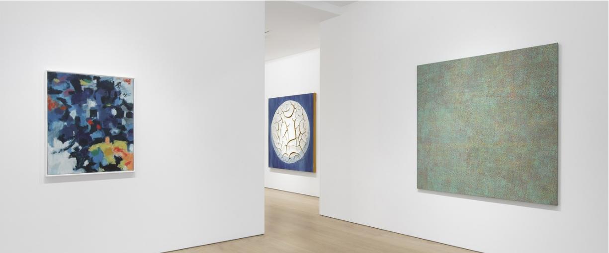Installation view, Victoria Miro Mayfair. Left to right: Alma Thomas, Untitled, 1961; Adriana Varejão, Azulejão (Moon), 2018; Howardena Pindell, Untitled, 1971, art exhibitions on now