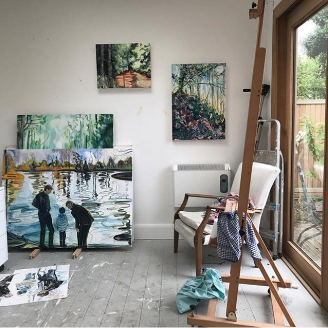 Photograph of Caroline Thomson's studio from her Instagram @carolinethomsonart